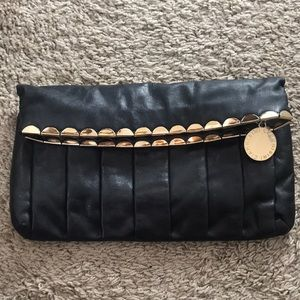 Gianni Bini Clutch with Gold Scalloped Detail